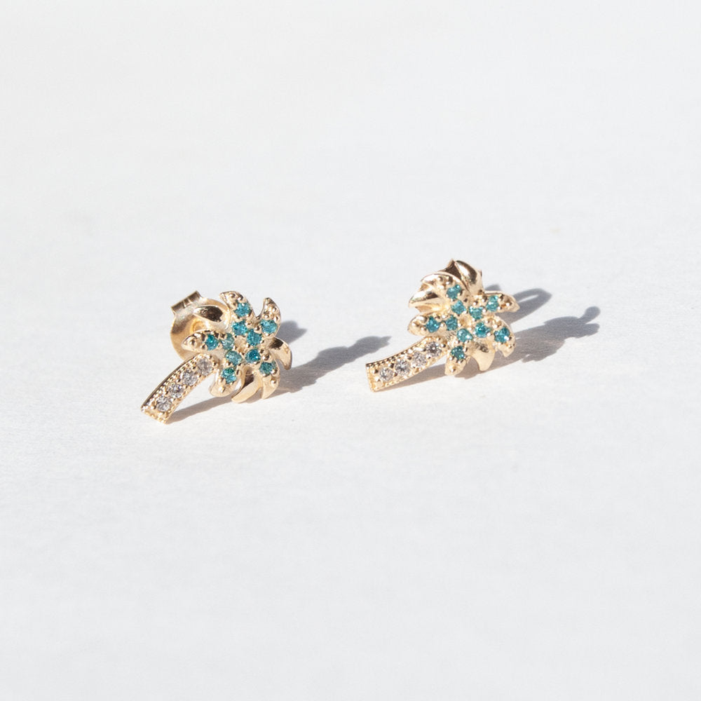 9ct gold blue cz baby palm tree stud earrings - seol-gold