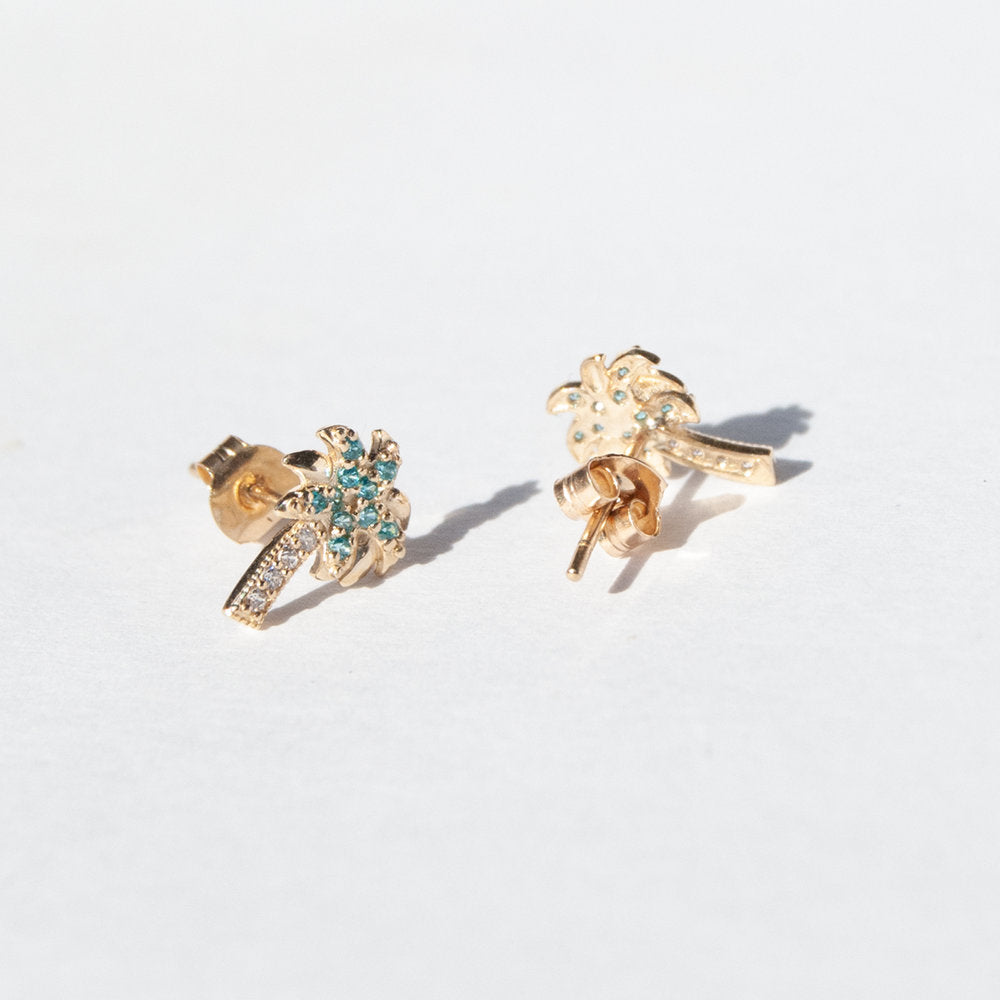 9ct gold cz stud earrings - seol-gold