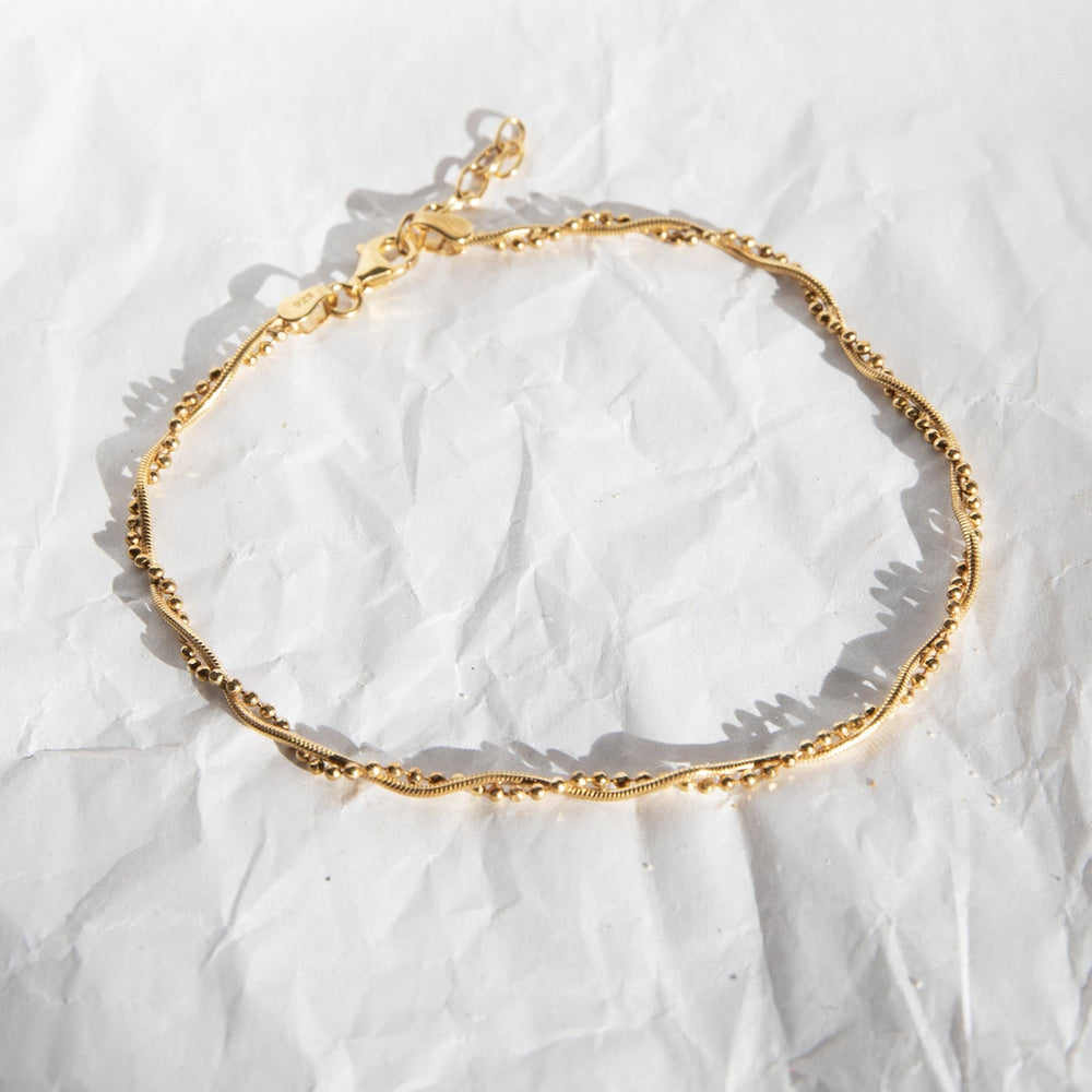 twisted bead anklet -seol gold