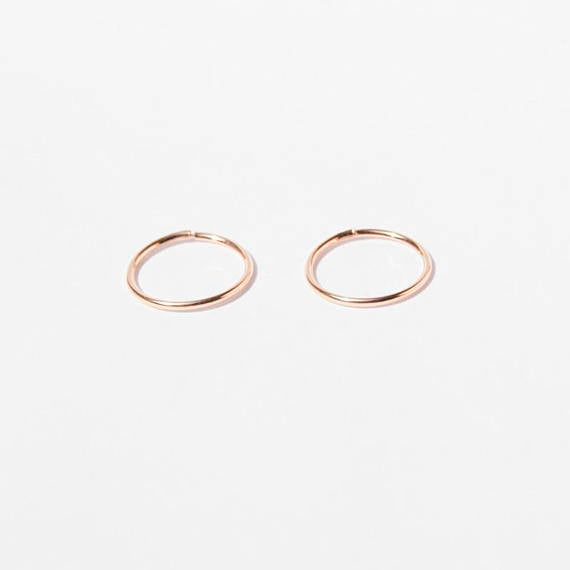 9ct Rose Gold Thin Hoops - seol-gold