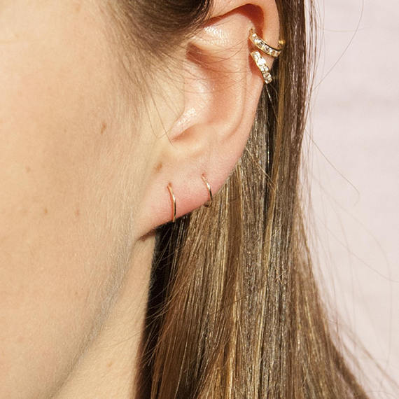 Tiny 9ct Gold Wire Hoops - seol-gold