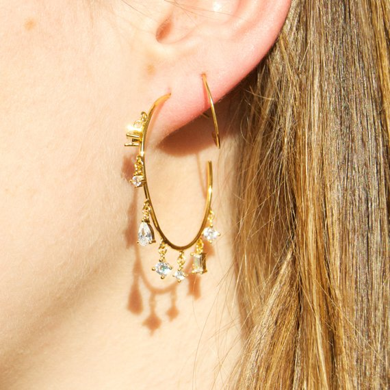 CZ Charm Earrings - seol-gold