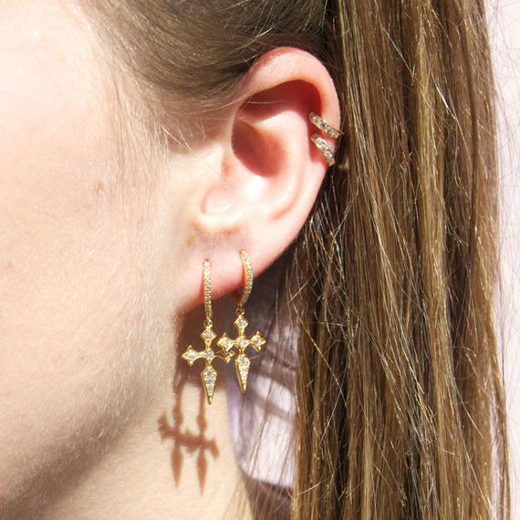 Cross CZ Charm Hoop Earrings