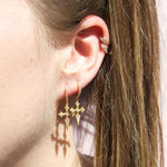 Cross CZ Charm Hoop Earrings - seol-gold