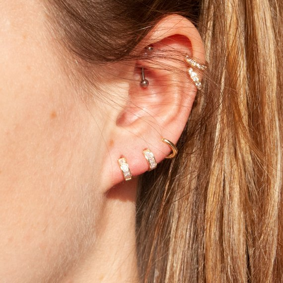 Tiny CZ Cage Huggie Earrings