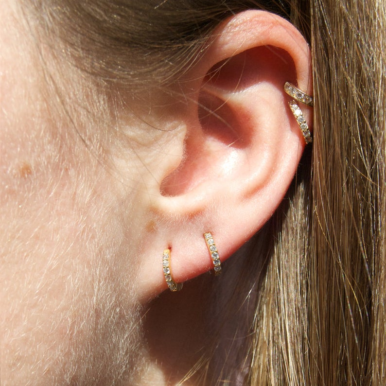 Tiny Cubic Zirconia Hoop Earrings