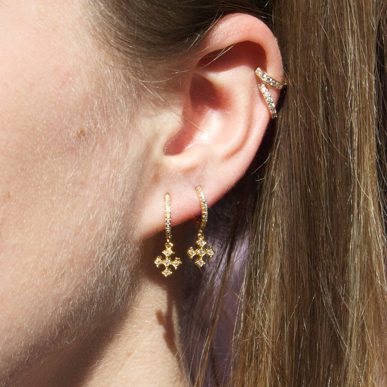 CZ Hoop Earrings - seol-gold