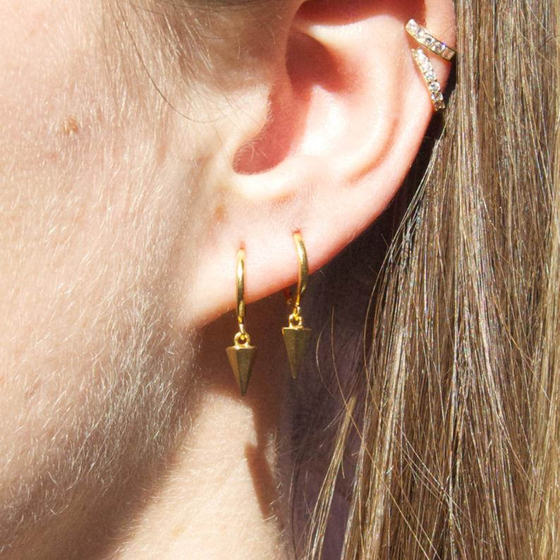 Spike Charm Hoop Earrings - seol-gold