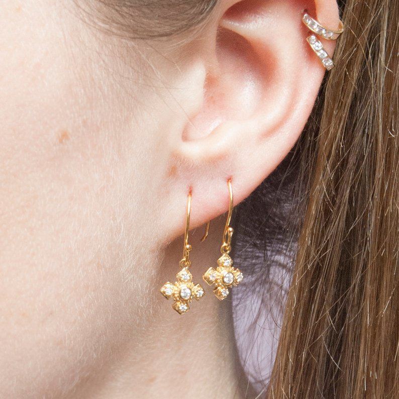 CZ Cross Charm Drop Earrings - seol-gold