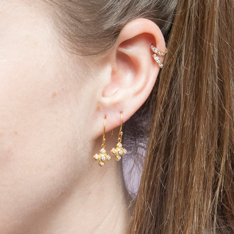 cz cross earrings - seol-gold