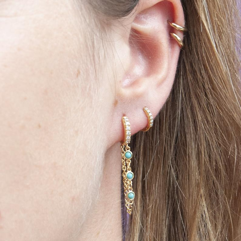 Turquoise Hoops - seol-gold