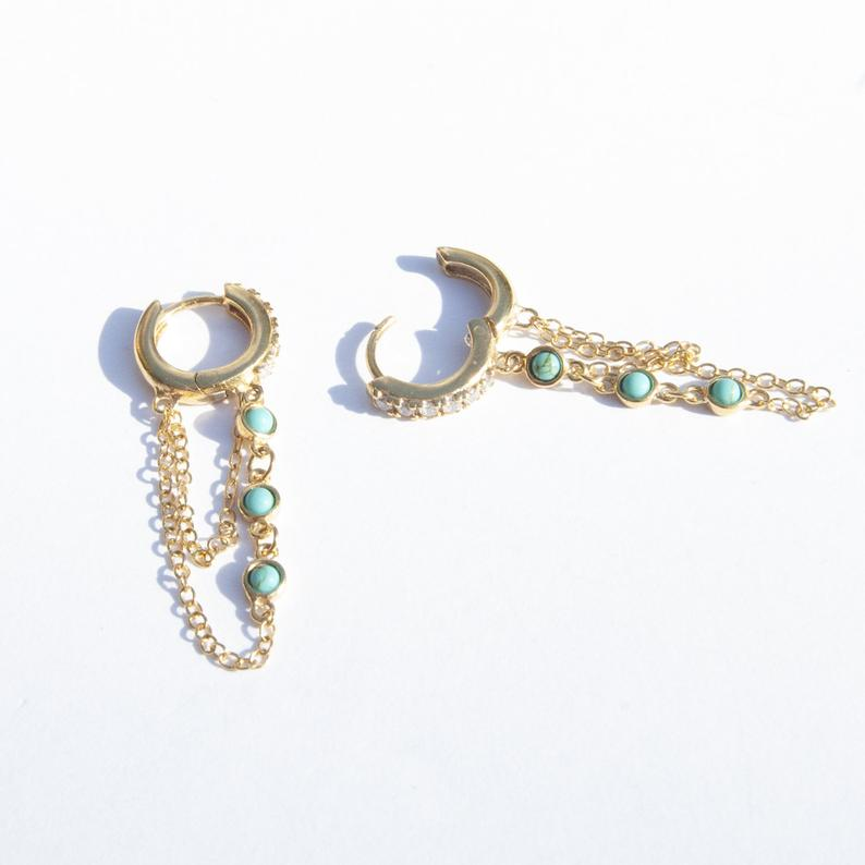 turquoise charm - gold hoops - seolgold