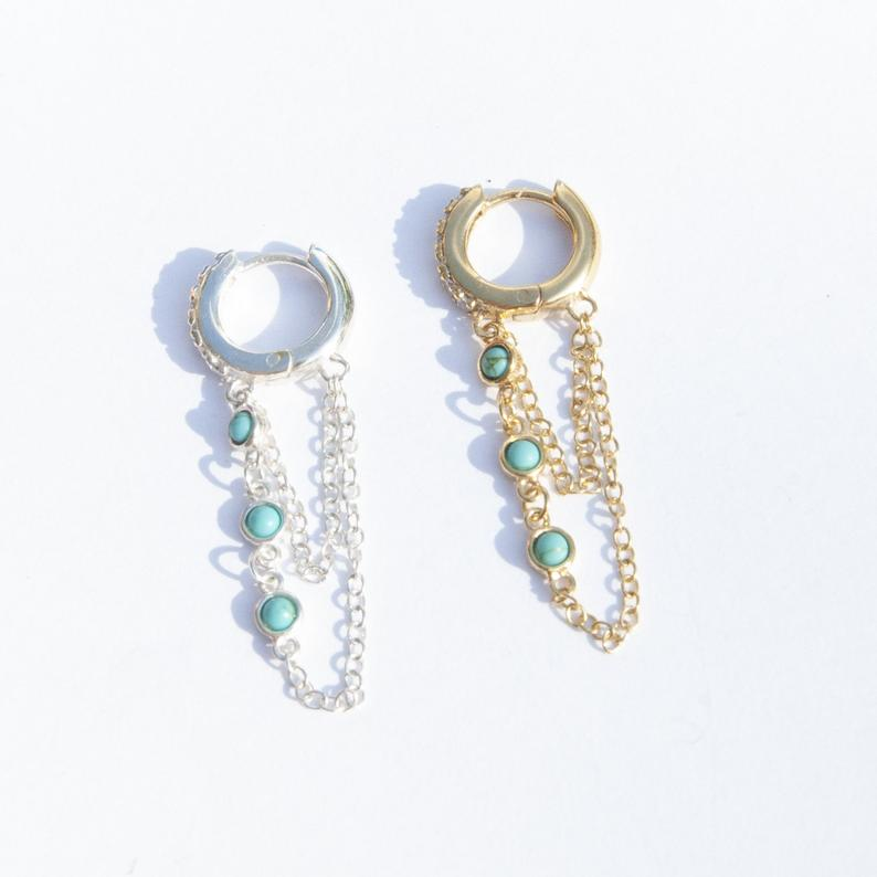 Turquoise - silver Hoops - seol-gold