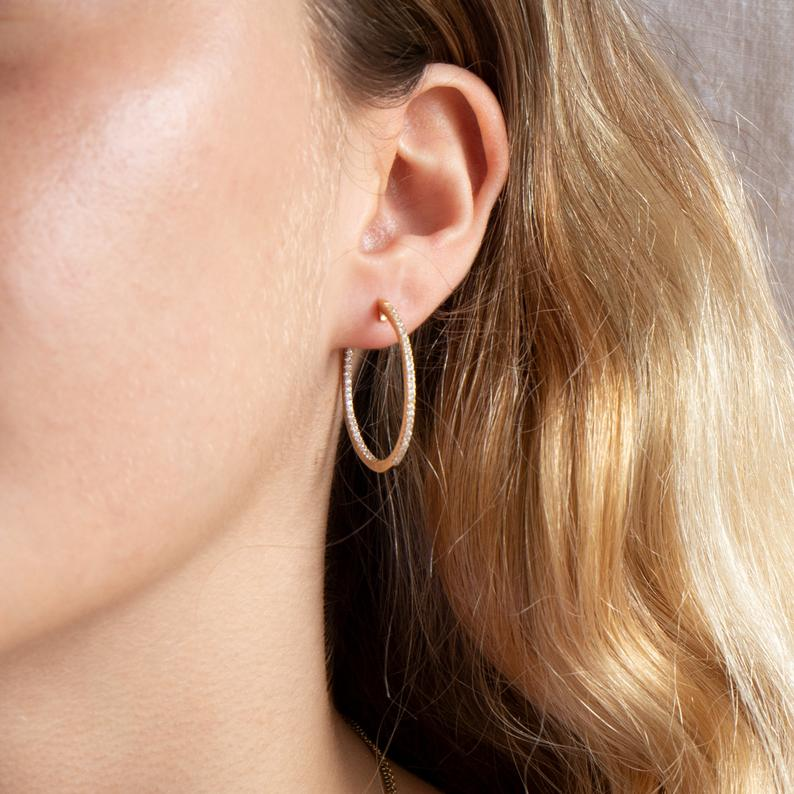 CZ Studded Hoop Earrings