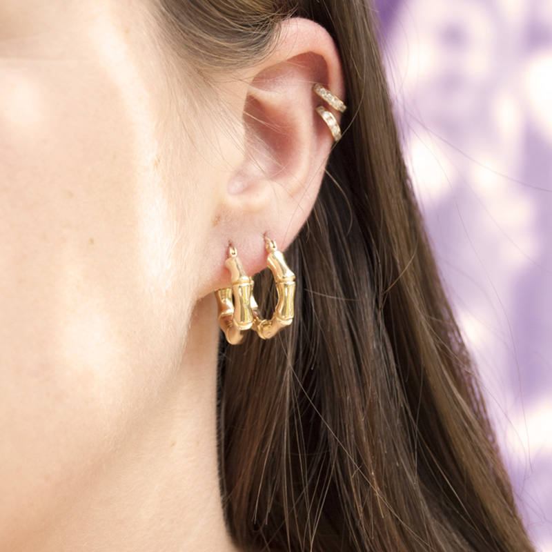 gold  Creole Hoop Earrings - seol-gold
