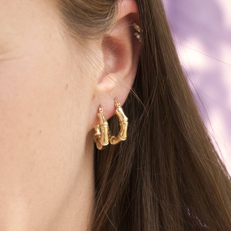 Bamboo Hoop Earrings - seol-gold