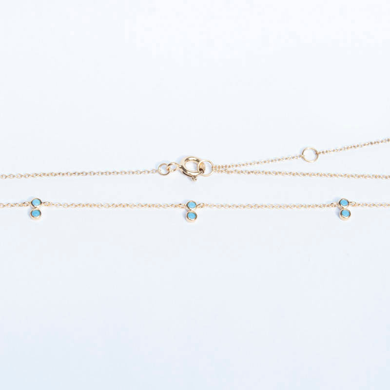 Turquoise gold necklace - seol-gold