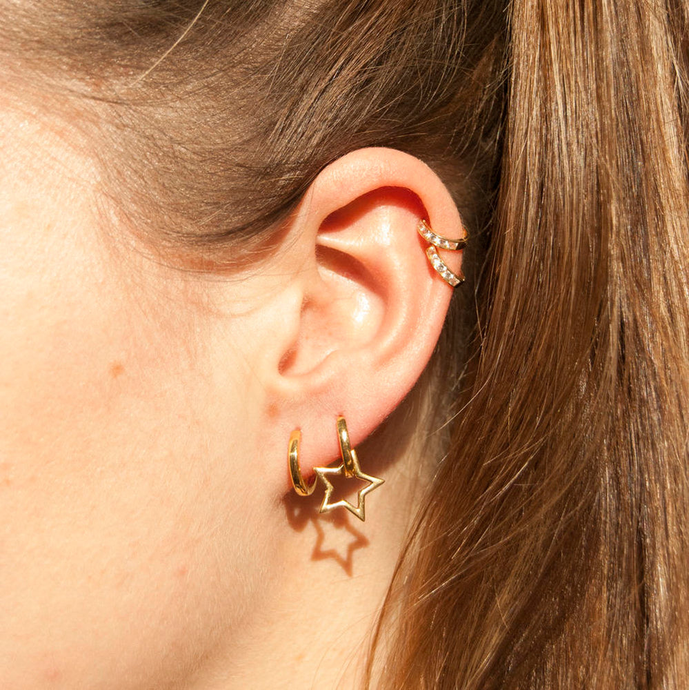 Star Huggie Earrings - seol-gold