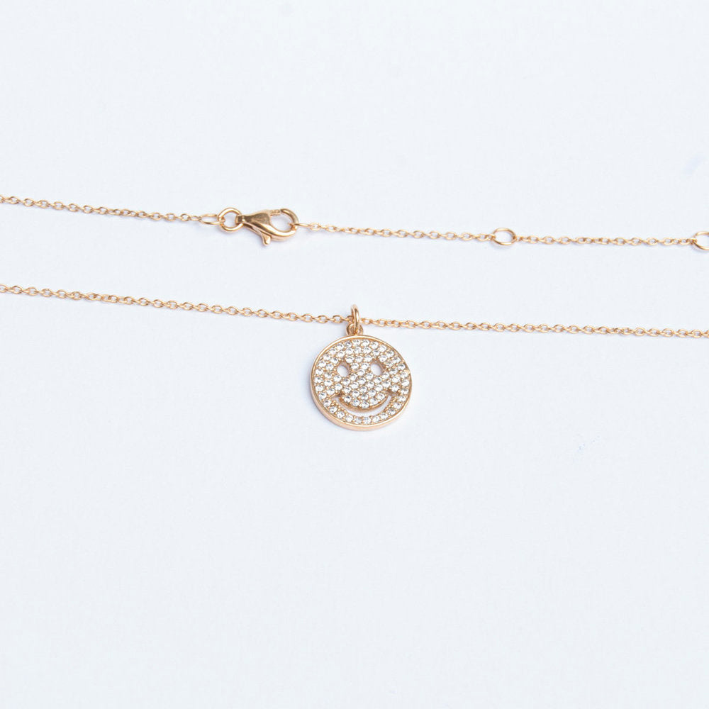 Smiley Face Necklace - seol-gold