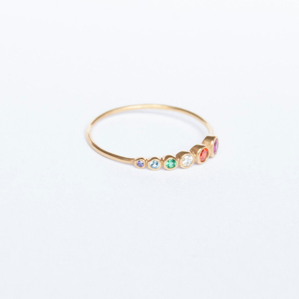 Rainbow CZ Ring - seol-gold