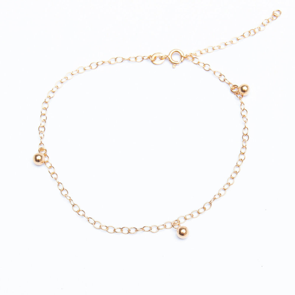 Beaded Charm Anklet - seol-gold