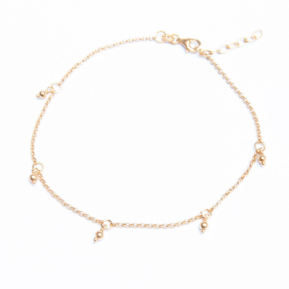 Bead Dot Charm Anklet - seol-gold