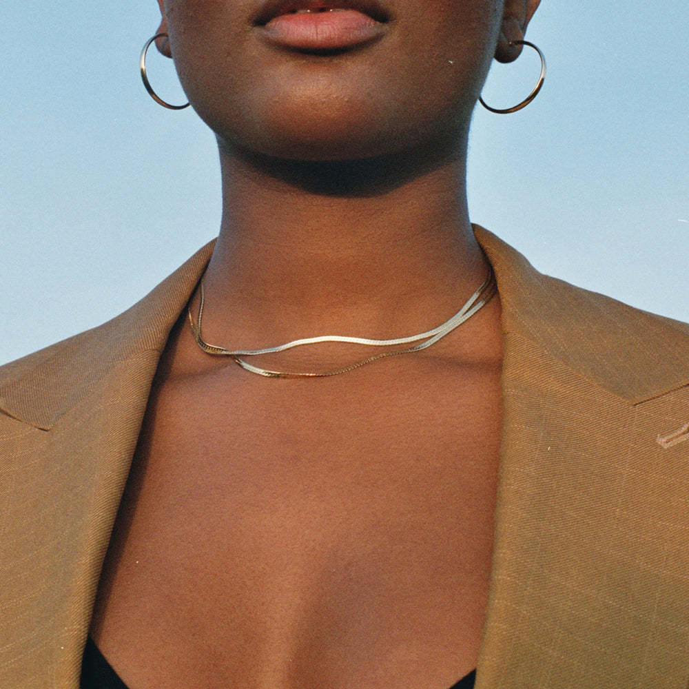 Herringbone gold Chain - seol-gold