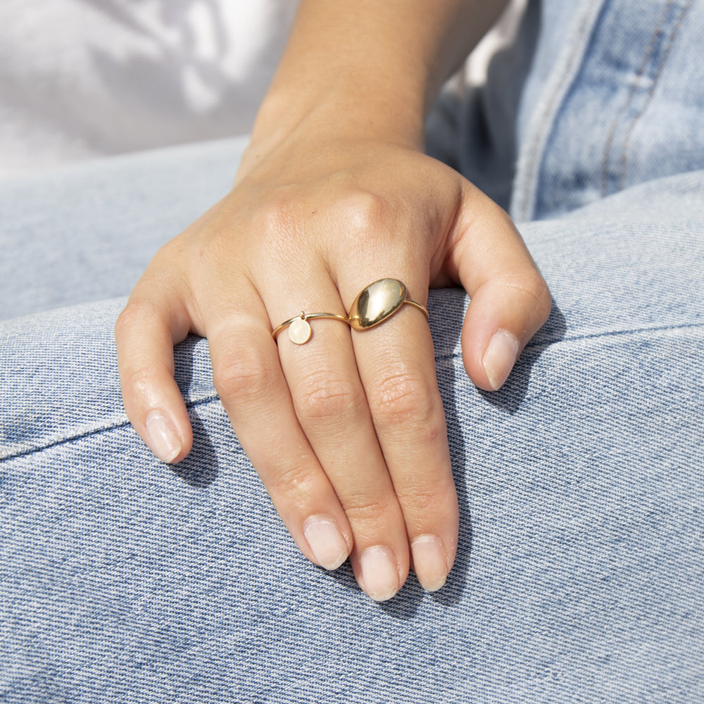 9ct Gold Large Oval Shape Ring - seol-gold