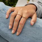 Tiny CZ Mosaic Stacking Ring - seol-gold