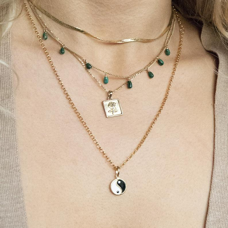 malachite charm necklace- seol gold