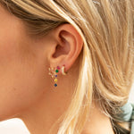 gold rainbow cz studs - seol-gold