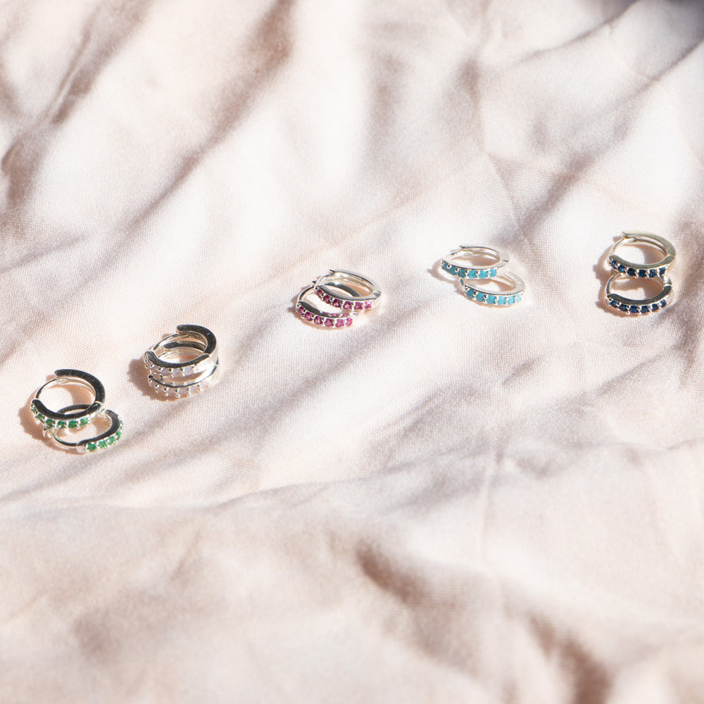Multicoloured Tiny CZ Hoop Earrings - seol-gold