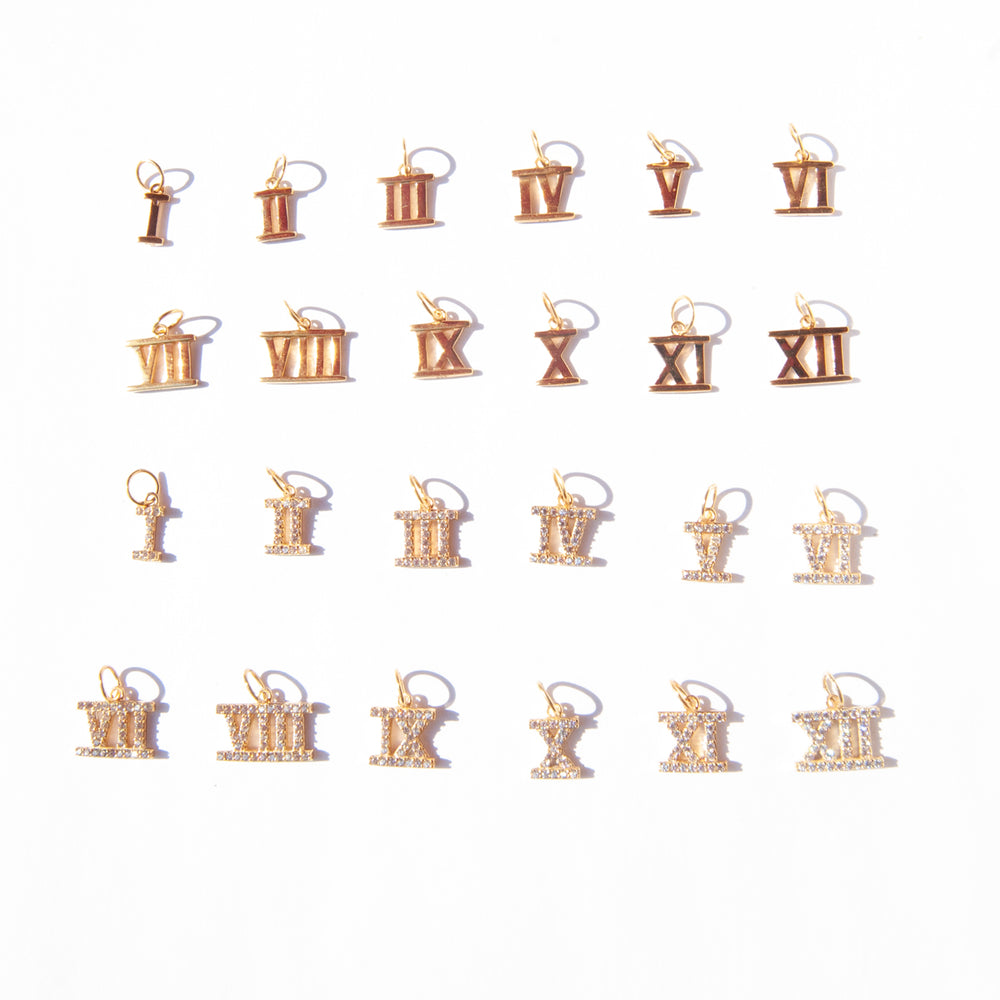 Roman numeral charms - seol-gold