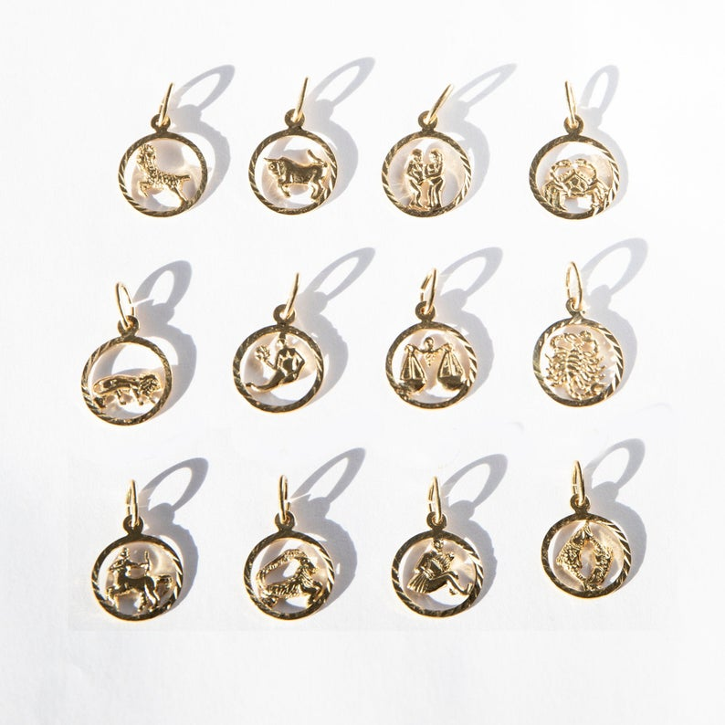 Seol Gold Zodiac Star Sign Pendants