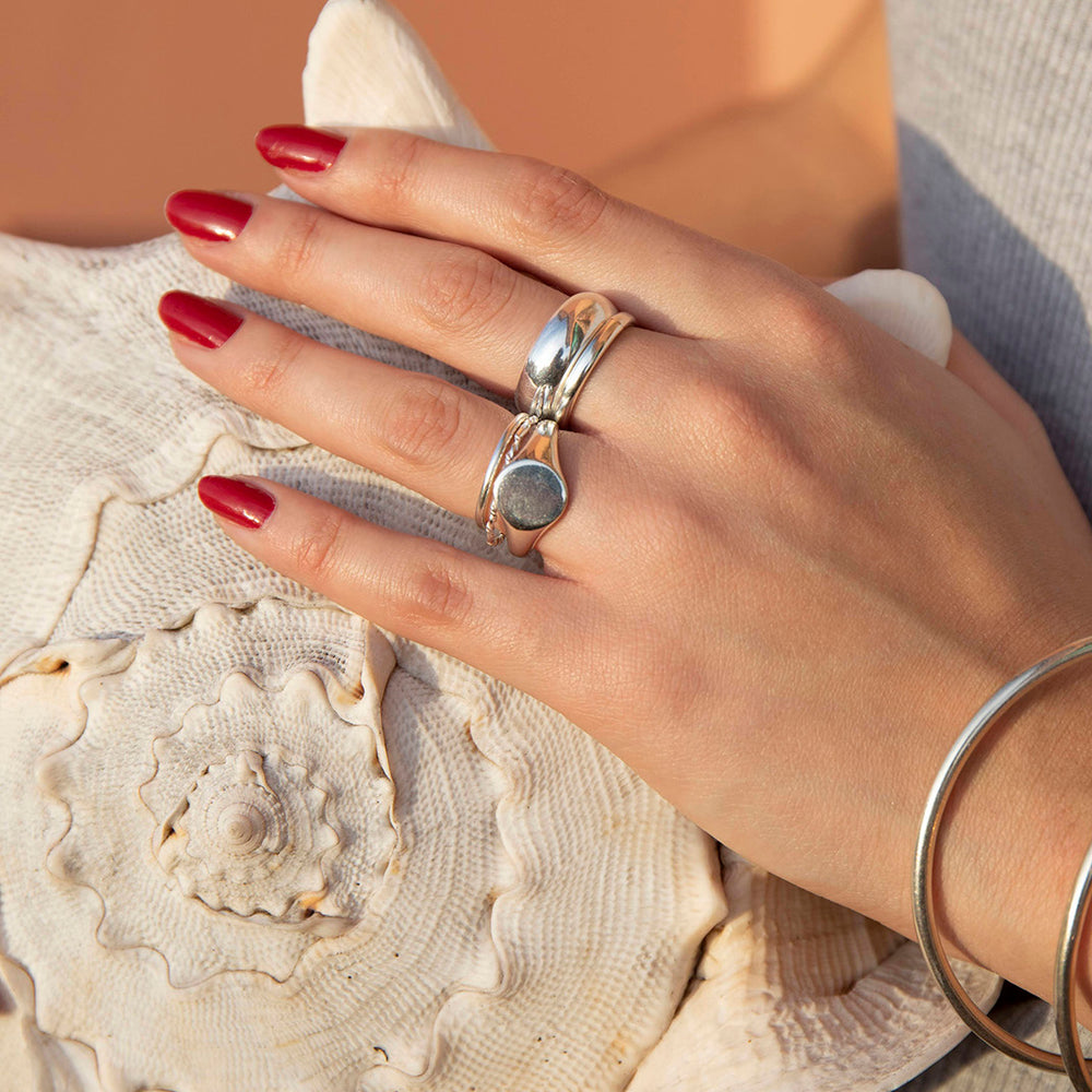 silver signet ring -seol gold