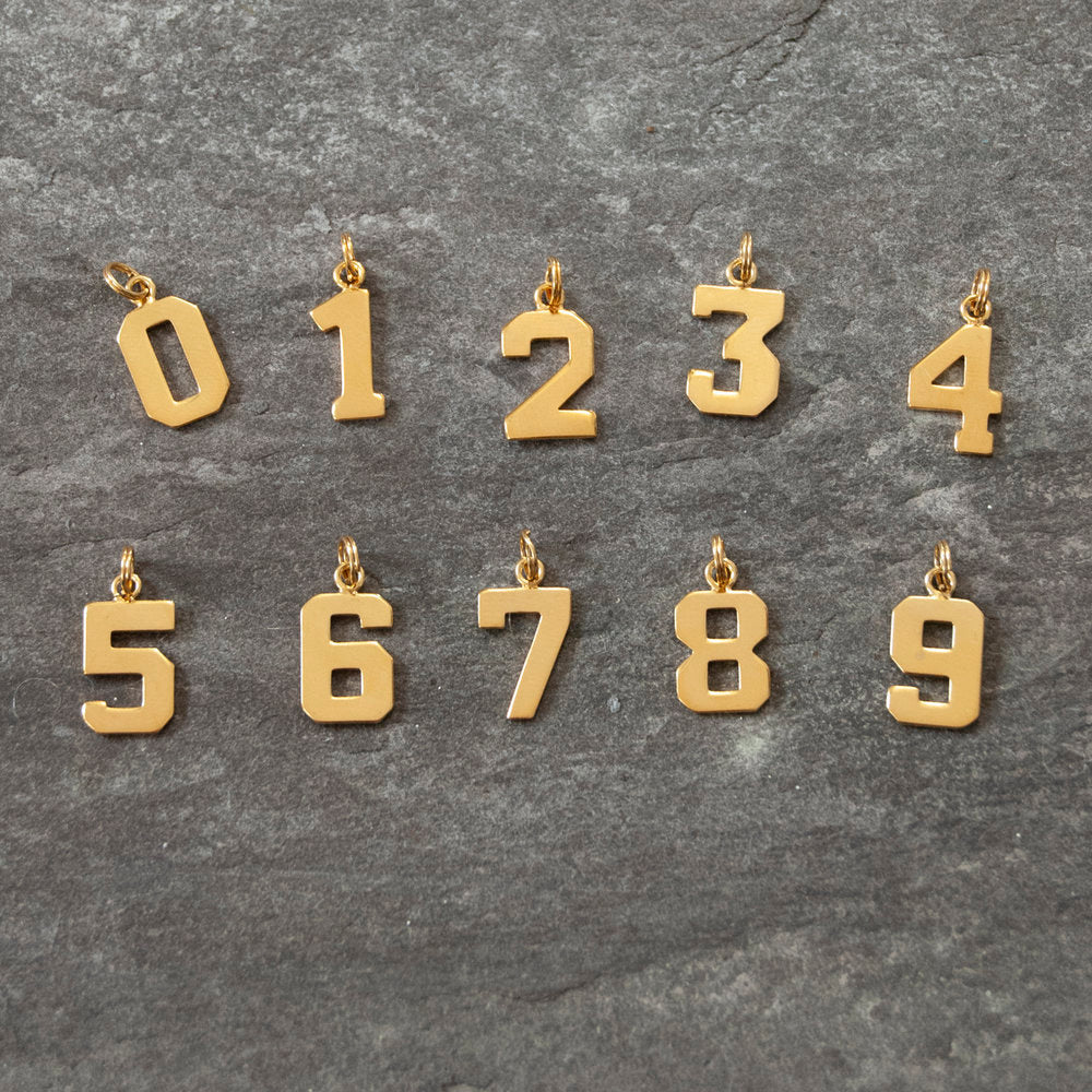 Varsity Font Number Charm Pendant - seol-gold
