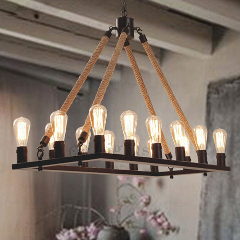 10 Light Rope Industrial Chandelier