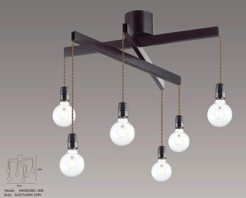Retro Industrial Rope 6 Light Pendant