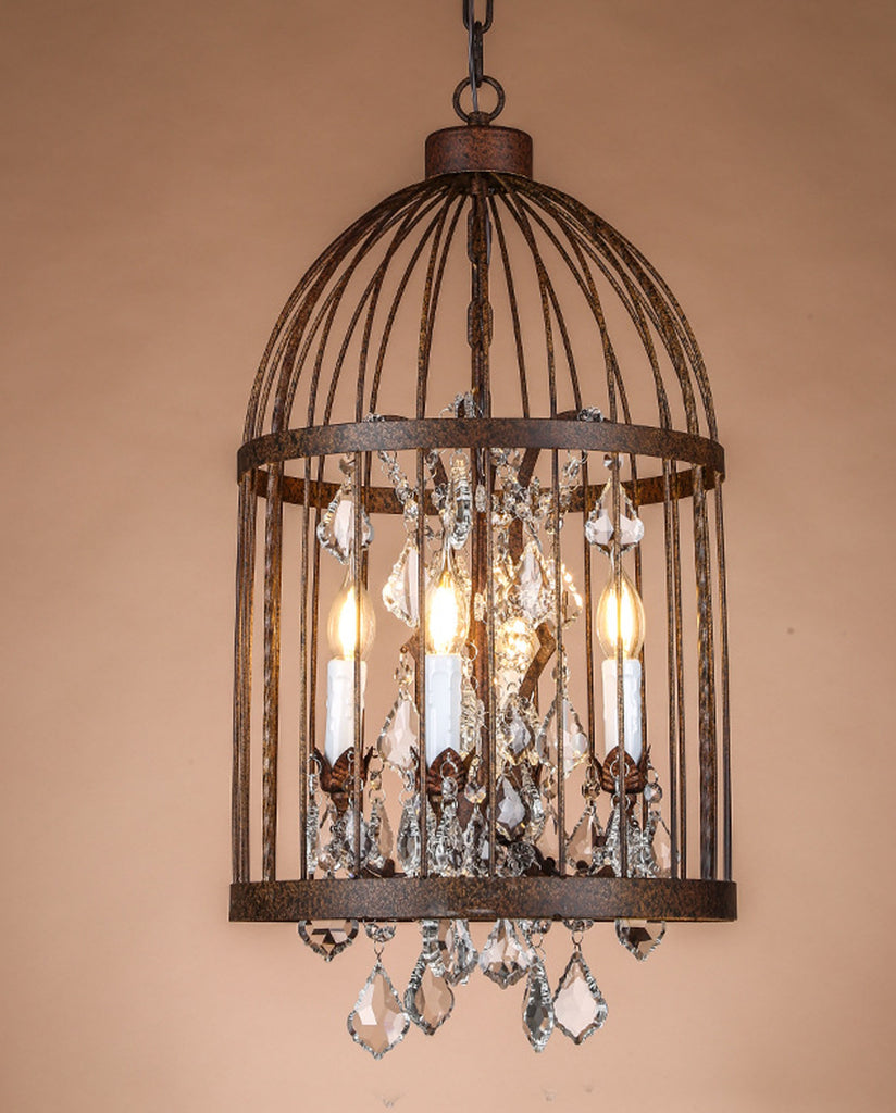 Vintage Bird Cage Crystal Pendant Light