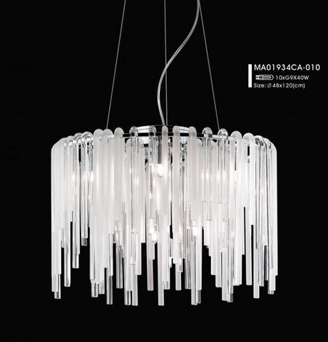 Modern Glass Rod Chandelier