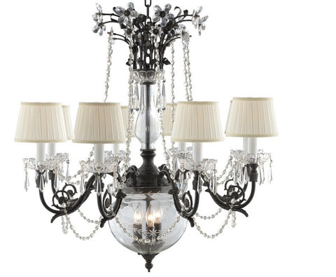 Classic Black 8 Light Crystal Chandelier