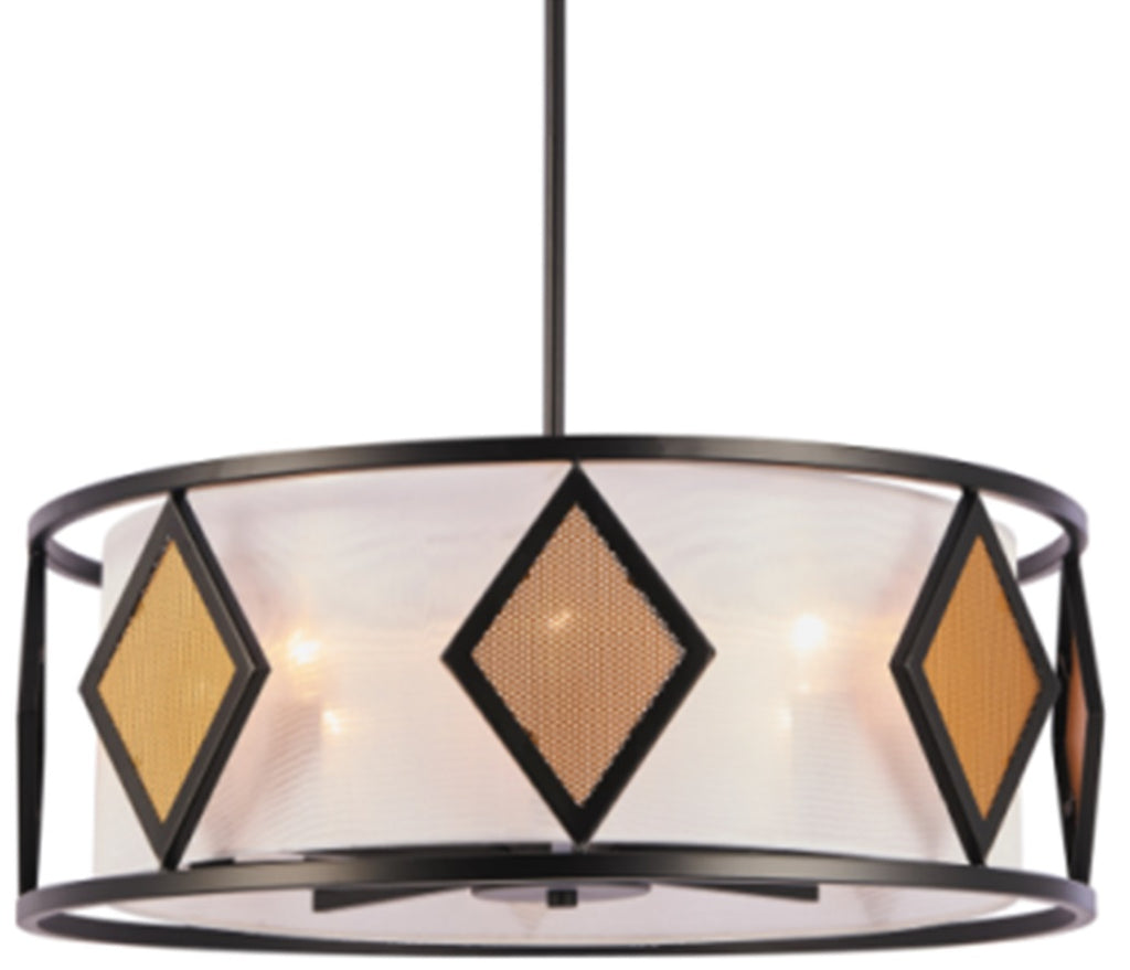 Drum Shade Pendant Light with Amber Glass
