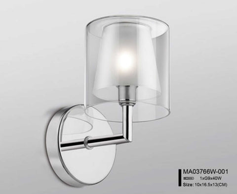 Modern Chrome Double Glass Wall Lamp