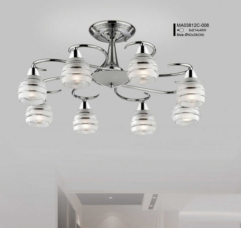 Modern Chrome 8 Light Pendant Light