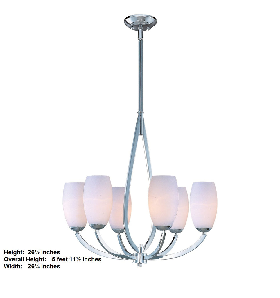 Modern Chrome 6 Light Chandelier