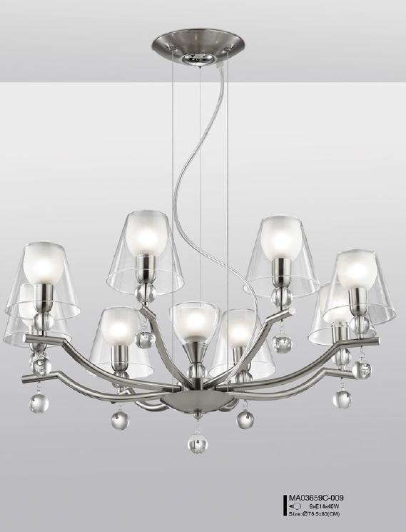 Modern 9 Light Silver Chandelier