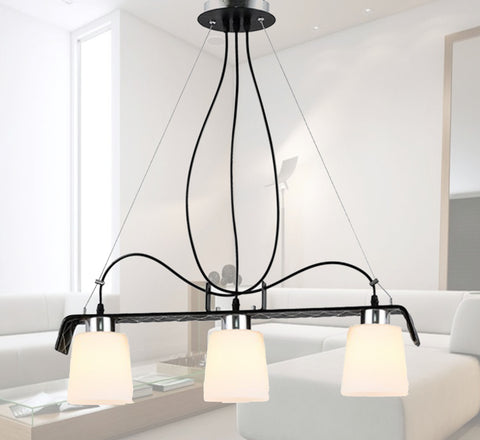 3 Light Leather Modern Pendant Light