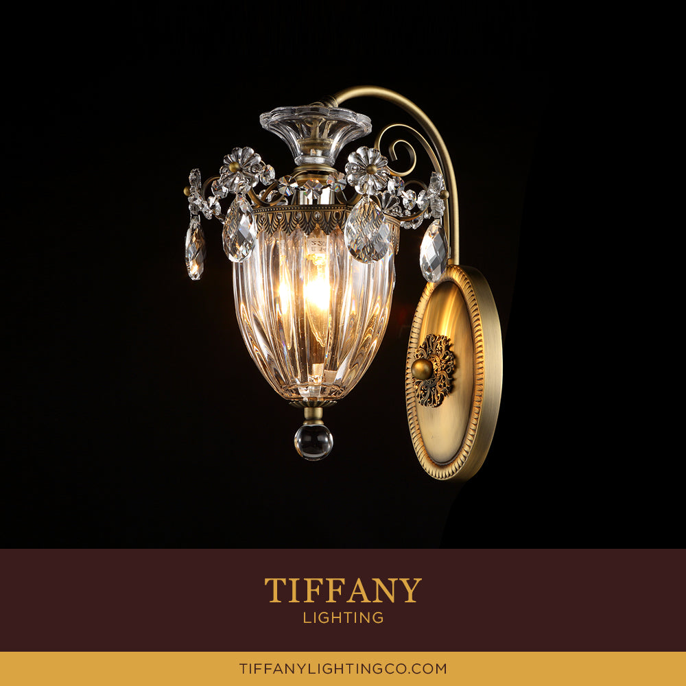 Classic Brass Crystal Wall Lamp