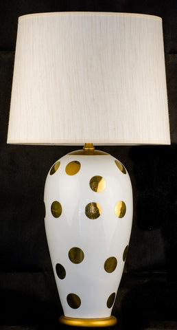 Modern Gold Dots Ceramic Table Lamp