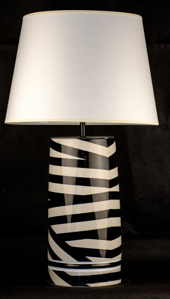 Modern Black Lines Ceramic Table Lamp